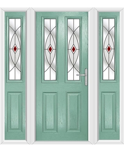 The Cardiff Composite Door in Green (Chartwell) with Red Fusion Ellipse and matching Side Panels