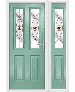The Cardiff Composite Door in Green (Chartwell) with Red Fusion Ellipse and matching Side Panel