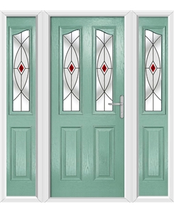The Birmingham Composite Door in Green (Chartwell) with Red Fusion Ellipse and matching Side Panels