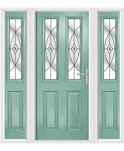 The Cardiff Composite Door in Green (Chartwell) with Green Fusion Ellipse and matching Side Panels