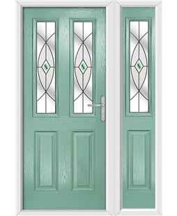 The Cardiff Composite Door in Green (Chartwell) with Green Fusion Ellipse and matching Side Panel