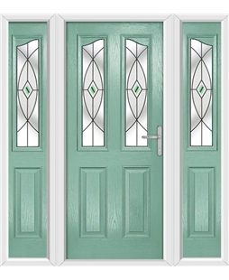 The Birmingham Composite Door in Green (Chartwell) with Green Fusion Ellipse and matching Side Panels