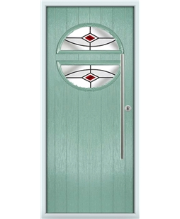 The Xenia Composite Door in Green (Chartwell) with Red Fusion Ellipse