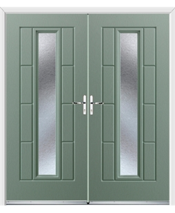 Vermont French Rockdoor in Chartwell Green with Gluechip Glazing