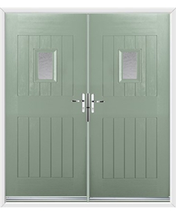 Cottage Spy View French Rockdoor in Chartwell Green with Gluechip Glazing