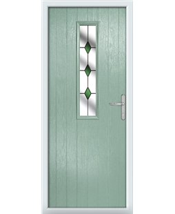 The Sheffield Composite Door in Green (Chartwell) with Green Diamonds