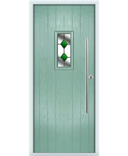 The Zetland Composite Door in Green (Chartwell) with Green Diamonds