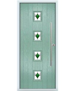 The Leicester Composite Door in Green (Chartwell) with Green Diamonds