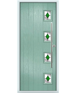 The Norwich Composite Door in Green (Chartwell) with Green Diamonds