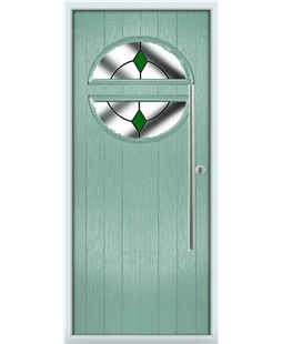 The Xenia Composite Door in Green (Chartwell) with Green Diamonds