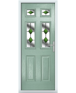 The Oxford Composite Door in Green (Chartwell) with Green Diamonds