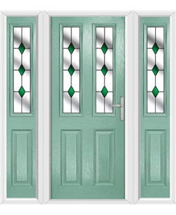 The Cardiff Composite Door in Green (Chartwell) with Green Diamonds and matching Side Panels