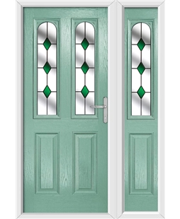 The Aberdeen Composite Door in Green (Chartwell) with Green Diamonds and matching Side Panel