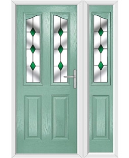 The Birmingham Composite Door in Green (Chartwell) with Green Diamonds and matching Side Panel