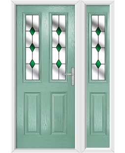The Cardiff Composite Door in Green (Chartwell) with Green Diamonds and matching Side Panel