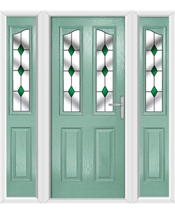 The Birmingham Composite Door in Green (Chartwell) with Green Diamonds and matching Side Panels