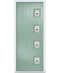 The Preston Composite Door in Green (Chartwell) with Green Murano