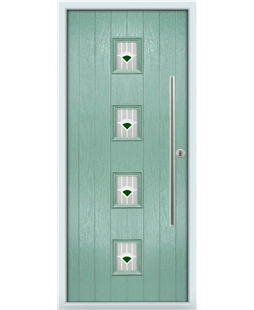 The Leicester Composite Door in Green (Chartwell) with Green Murano