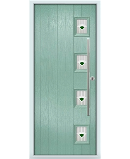 The Norwich Composite Door in Green (Chartwell) with Green Murano