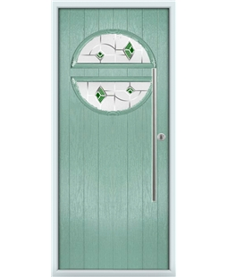 The Xenia Composite Door in Green (Chartwell) with Green Murano
