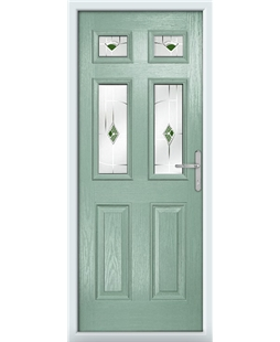 The Oxford Composite Door in Green (Chartwell) with Green Murano