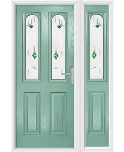 The Aberdeen Composite Door in Green (Chartwell) with Green Murano and matching Side Panel