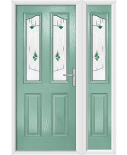 The Birmingham Composite Door in Green (Chartwell) with Green Murano and matching Side Panel
