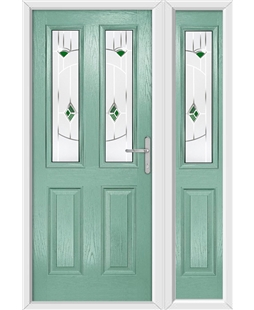 The Cardiff Composite Door in Green (Chartwell) with Green Murano and matching Side Panel