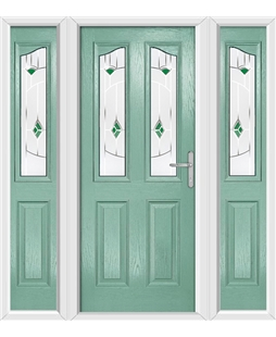 The Birmingham Composite Door in Green (Chartwell) with Green Murano and matching Side Panels