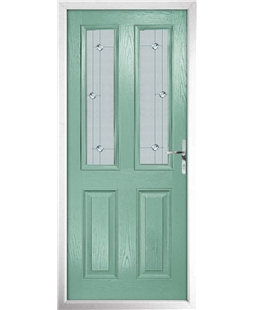 The Cardiff Composite Door in Green (Chartwell) with Jewel Glazing