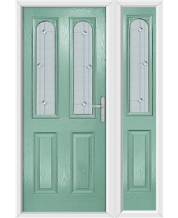The Aberdeen Composite Door in Green (Chartwell) with Jewel Glazing and Matching Side Panel