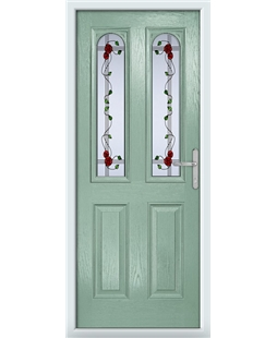 The Aberdeen Composite Door in Green (Chartwell) with Mackintosh Rose