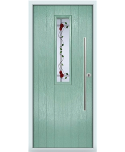 The York Composite Door in Green (Chartwell) with Mackintosh Rose