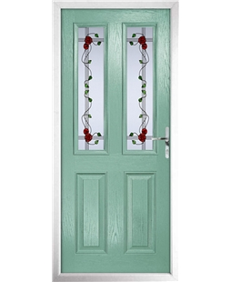 The Cardiff Composite Door in Green (Chartwell) with Mackintosh Rose