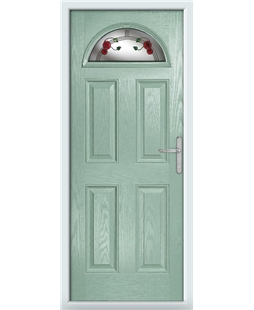 The Derby Composite Door in Green (Chartwell) with Mackintosh Rose