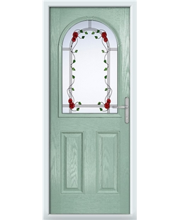 The Edinburgh Composite Door in Green (Chartwell) with Mackintosh Rose