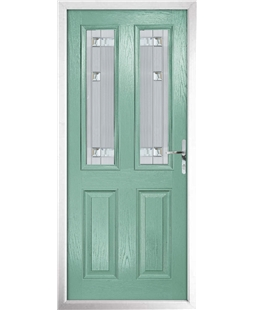 The Cardiff Composite Door in Green (Chartwell) with Milan Glazing
