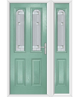 The Aberdeen Composite Door in Green (Chartwell) with Milan Glazing and Matching Side Panel