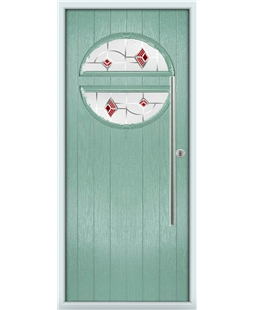 The Xenia Composite Door in Green (Chartwell) with Red Murano