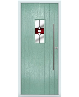 The Zetland Composite Door in Green (Chartwell) with Red Crystal Bohemia