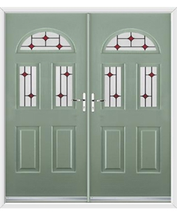 Tennessee French Rockdoor in Chartwell Green with Red Diamonds