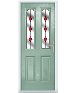 The Aberdeen Composite Door in Green (Chartwell) with Red Diamonds