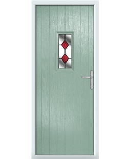 The Taunton Composite Door in Green (Chartwell) with Red Diamonds