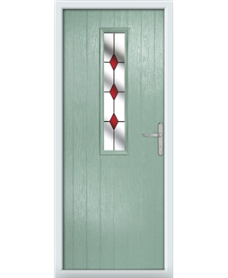 The Sheffield Composite Door in Green (Chartwell) with Red Diamonds