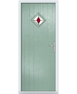 The Reading Composite Door in Green (Chartwell) with Red Diamonds