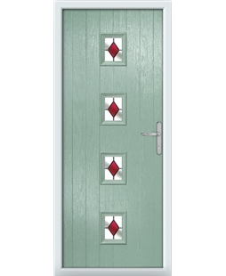 The Uttoxeter Composite Door in Green (Chartwell) with Red Diamonds