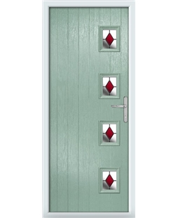 The Preston Composite Door in Green (Chartwell) with Red Diamonds