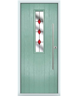 The York Composite Door in Green (Chartwell) with Red Diamonds