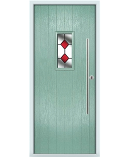The Zetland Composite Door in Green (Chartwell) with Red Diamonds