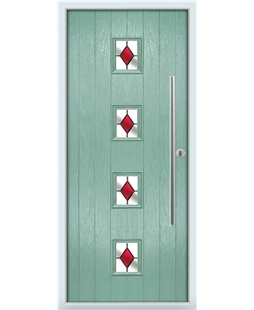 The Leicester Composite Door in Green (Chartwell) with Red Diamonds